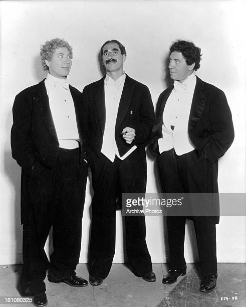 Groucho Marx Harpo Marx and Chico Marx in publicity portrait for the film 'A Night At The Opera' 1935