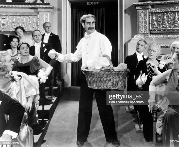 Groucho Marx in a scene from the Marx Brothers comedy 'A Night At The Opera' directed by Sam Wood 1935