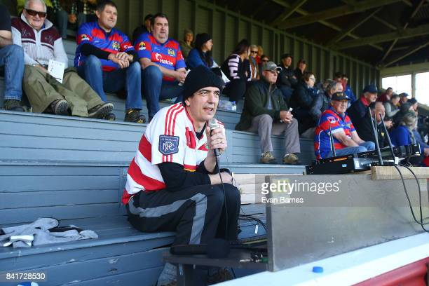 Ground commentator during the round 2 Heartland Championship match between Buller and West Coast at Rugby Park on September 2 2017 in Greymouth New...