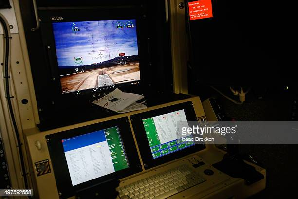 A ground control station cockpit used for remotely piloted aircraft is shown at Creech Air Force Base on November 17 2015 in Indian Springs Nevada...