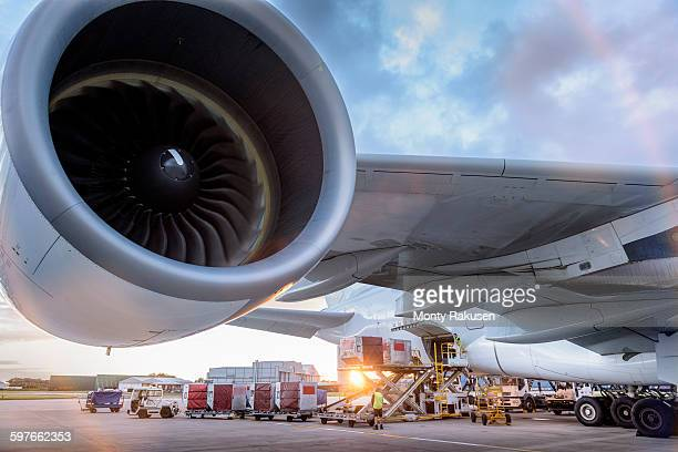 ground crew loading a380 aircraft at sunset - monty rakusen stock photos and pictures