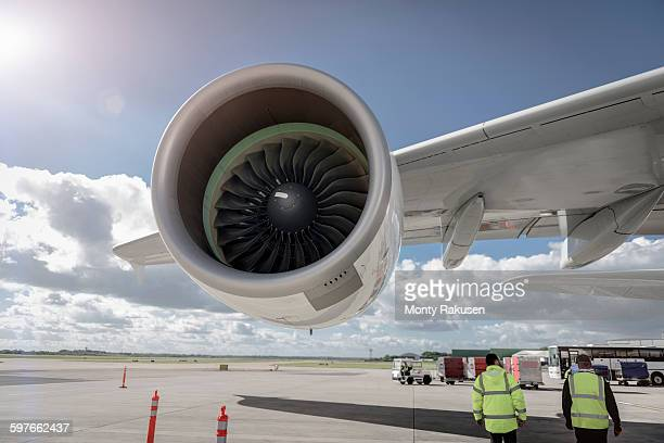 Ground crew with A380 jet engine aircraft