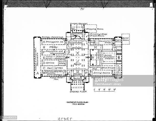Ground Floor plan or map showing titles and letters assigned to halls Exhibit halls with donornames and other additions Field Museum of Natural...