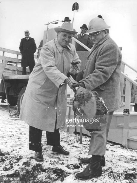 Ground is broken for engineering complex Handling the shovel is Floyd E Dominy U S Commissioner of reclamation assisted by Francis B O'Hanlon Sr at...