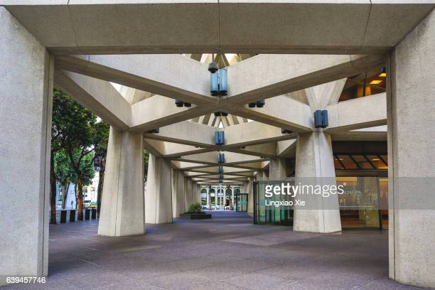 Ground level of Transamerica Pyramid in Downtown San Francisco