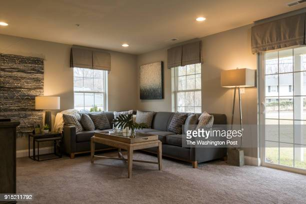 Ground Level Rec Room in the Ellicott model home at Spring Creek on January 24 2018 in Laurel Maryland