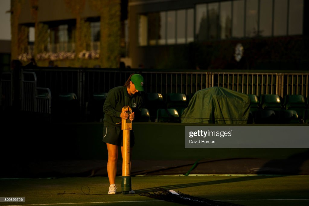 A ground stuff works on ground 14 after day three of the Wimbledon Lawn Tennis Championships at the All England Lawn Tennis and Croquet Clubon July 4, 2017 in London, England.
