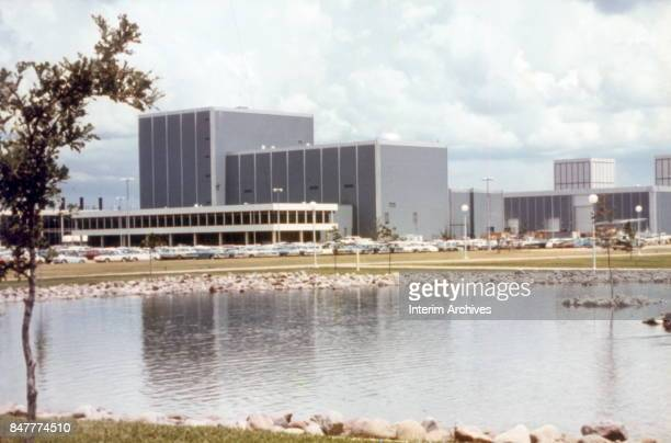 Ground view looking northwest across part of NASA's Manned Space Center campus Houston Texas 1960s