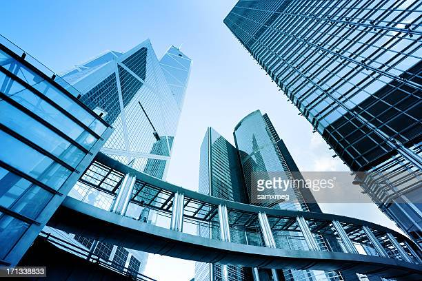 Ground view of metal and glass buildings