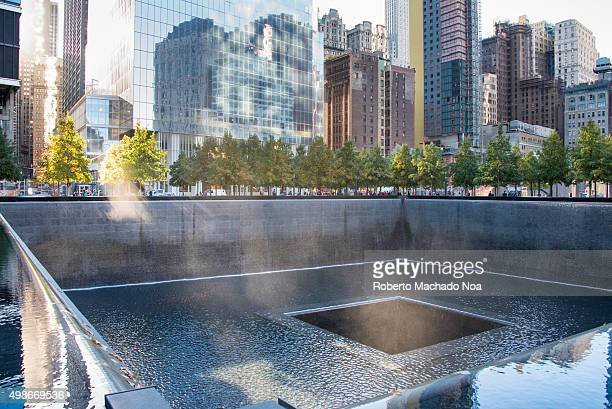 Ground Zero memorial or September 11 Memorial pool at the site of earlier World Trade Centre in New York city USA 9/11 memorial is the principal...