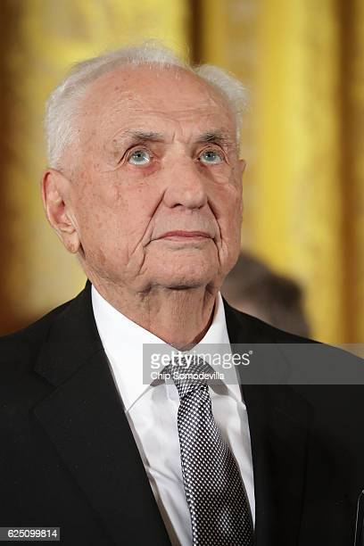 Groundbreaking architect Frank Gehry listens to his citation before being awarded the Presidential Medal of Freedom by U.S. President Barack Obama...