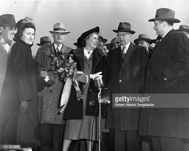 Groundbreaking ceremony for the Dearborn Homes public housing estate, Chicago, Illinois, 1948. Among the pictured group is American politician and...