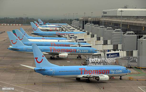 Grounded aircraft are pictured on the apron at Manchester Airport in northwest England on April 19 2010 Britain is dispatching Navy ships to help...