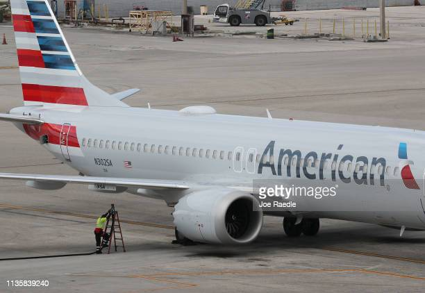 A grounded American Airlines Boeing 737 Max 8 is seen parked at Miami International Airport on March 14 2019 in Miami Florida The Federal Aviation...