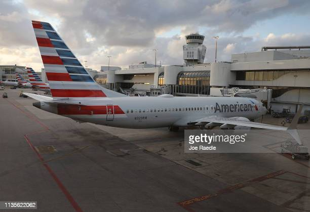 A grounded American Airlines Boeing 737 Max 8 sits at its gate after arriving at the Miami International Airport from LaGuardia Airport on March 13...