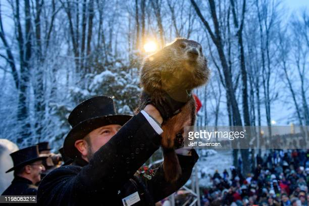 Groundhog handler AJ Dereume holds Punxsutawney Phil who did not see his shadow predicting an early or late spring during the 134th annual Groundhog...