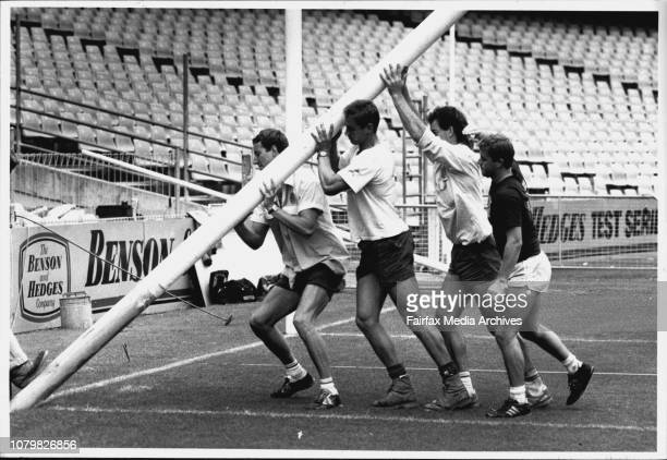 Grounds man erct Goal posts the SCG.Mark Bayes with the tools of the trade and goal posts standing in the background.Craig Potter helps raise the...