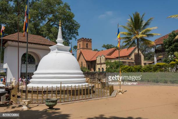 grounds of the temple of the tooth, with view to st paul's church, kandy, sri lanka - dalada maligawa stock photos and pictures