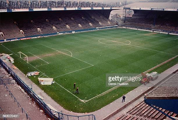 Groundskeepers busy working at Hillsborough Stadium the day after the stampede which resulted in the deaths of 96 people Sheffield 16th April 1989