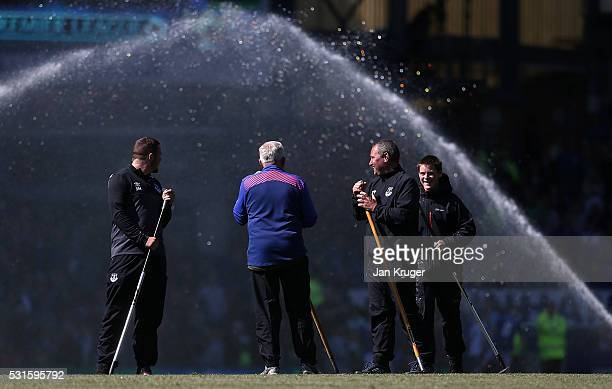 Groundsman during the Barclays Premier League match between Everton and Norwich City at Goodison Park on May 15 2016 in Liverpool England