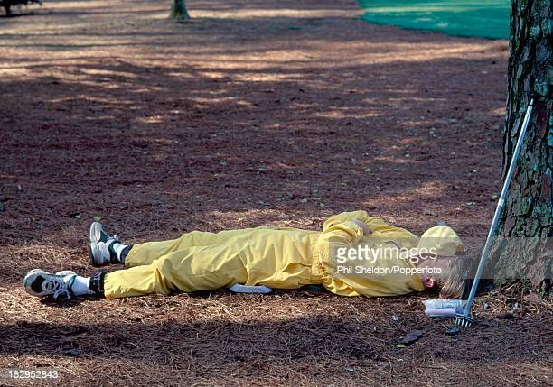 A groundsman taking a break on the Augusta National Golf Course in Georgia during the US Masters Golf Tournament on the early morning of 14th April...