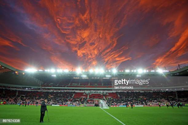 A groundsman tends the pitch at half time during the Sky Bet Championship match between Sunderland and Birmingham City at Stadium of Light on...