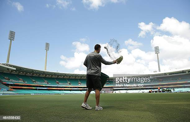 A groundsman works on the pitch before the 2015 ICC Cricket World Cup match between South Africa and the West Indies at Sydney Cricket Ground on...