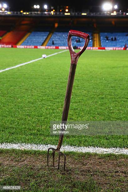 A groundsman's fork is pictured prior to the Barclays Premier League match between Crystal Palace and Hull City at Selhurst Park on January 28 2014...
