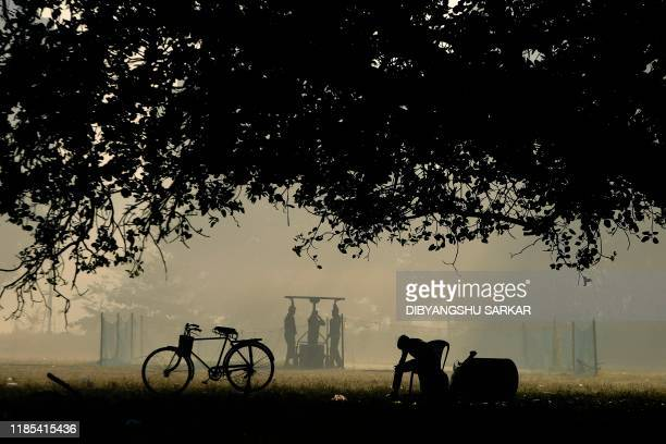 Groundsmen roll a cricket pitch on a foggy morning at the Maidan park in Kolkata on November 29, 2019.