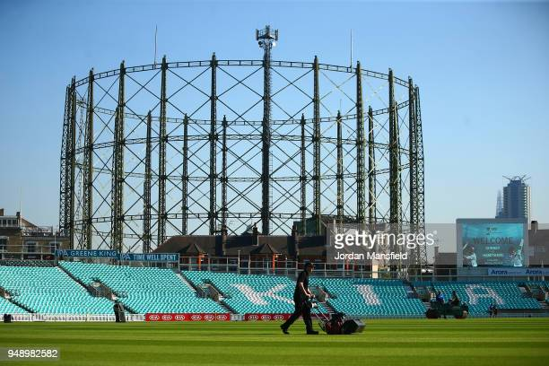 Groundstaff make the finishing touches to the pitch prior to the start of day one of the Division One Specsavers County Championship match between...