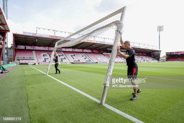 Groundstaff put match day goals in place before the Premier League match between AFC Bournemouth and Leicester City at Vitality Stadium on September...