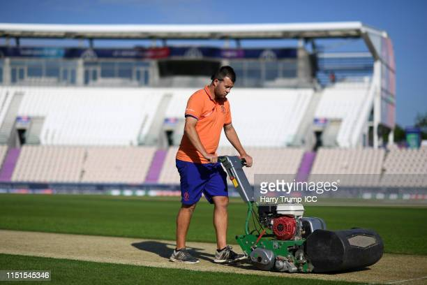 Groundstaff work on the pitch prior to the start during the ICC Cricket World Cup 2019 Warm Up match between England and Australia at Ageas Bowl on...