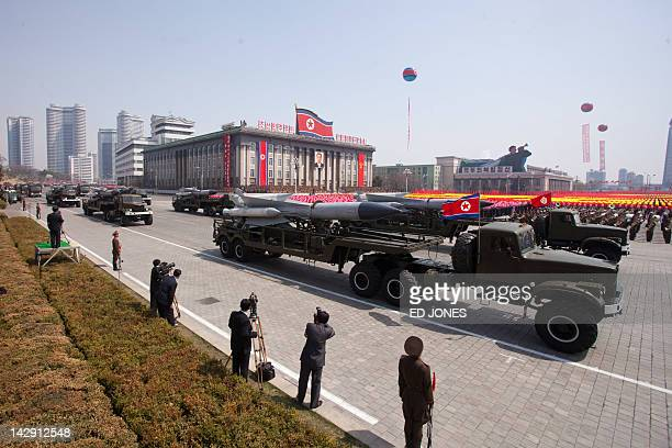 SA5 groundtoair missiles are displayed during a military parade in honour of the 100th birthday of the late North Korean leader Kim IlSung in...