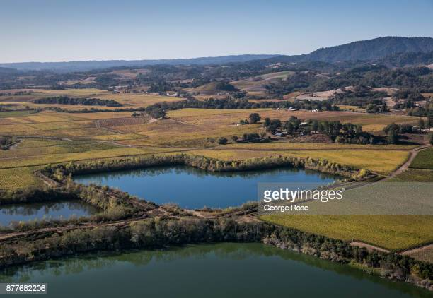 Groundwater recharging pond along the Russian River are viewed in this aerial photo taken near Riverfront Regional Park on November 5 near Healdsburg...