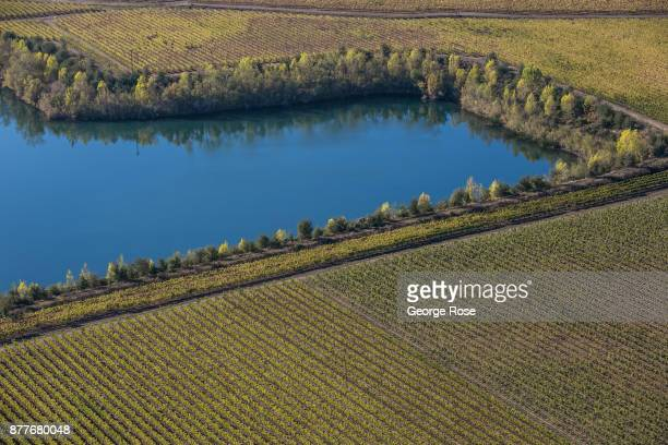 A groundwater recharging pond along the Russian River is viewed in this aerial photo taken over Wine Country on November 5 near Windsor California...