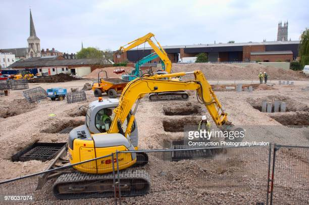 Groundworks at Kingsholm in preparation for the construction of Gloucester Rugby's New South Stand, UK.