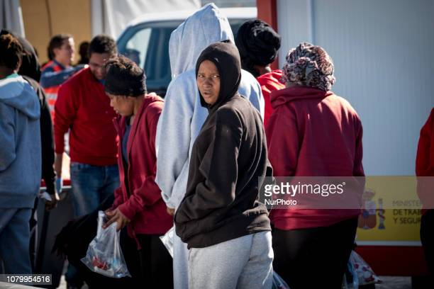 A grouo of female migrants leaving the Care unit to take a bus to go to a center on January 9 Malaga Southern Spain