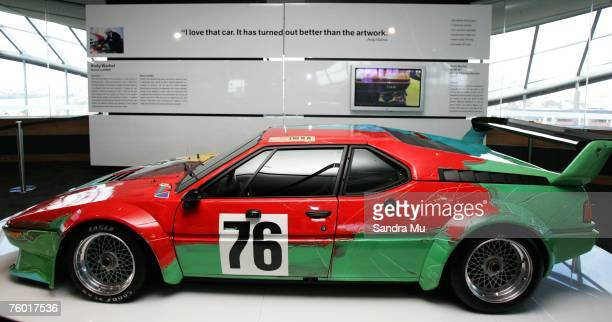 Group 4 racing version painted by Andy Warhol is displayed in the BMW Art Car Collection Exhibition at Auckland Museum Events Centre on August 8 2007...