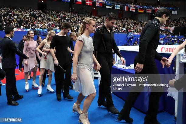 Group 4 skaters enter the rink prior to competing in the Ice Dance Free Dance on day four of the 2019 ISU World Figure Skating Championships at...