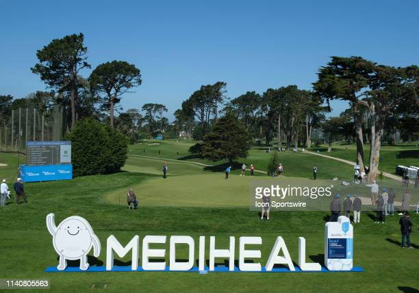 Group 7 consisting of Marissa Steen Madelene Sagstrom and Kendall Dye finish play on the hole 9 green during Round 1 of the 2019 LPGA MediHeal...
