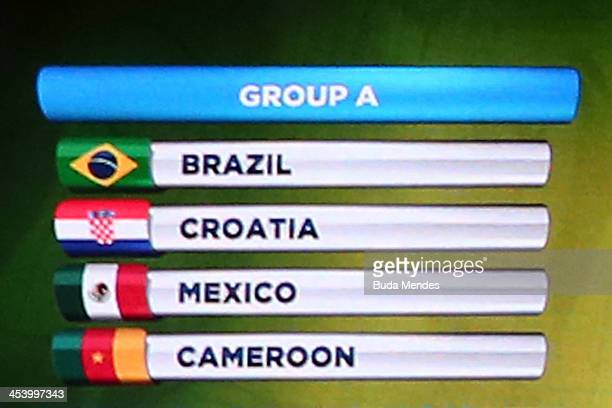 Group A containing Brazil Croatia Mexico and Cameroon is displayed on a screen on stage during the Final Draw for the 2014 FIFA World Cup Brazil at...