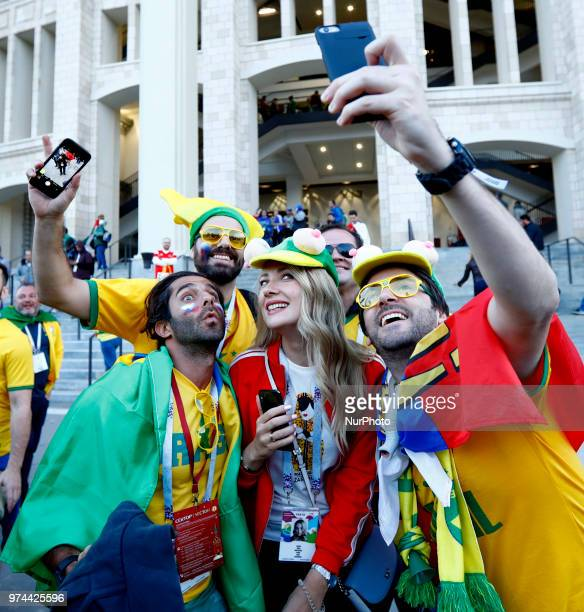 Group A Russia v Saudi Arabia FIFA World Cup Russia 2018 Brazilian and russian fans taking a selfie at Luzhniki Stadium in Moscow Russia on June 14...