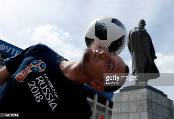 Group A Russia v Saudi Arabia FIFA World Cup Russia 2018 Freestyle performer near the Lenin statue at Luzhniki Stadium in Moscow Russia on June 14...