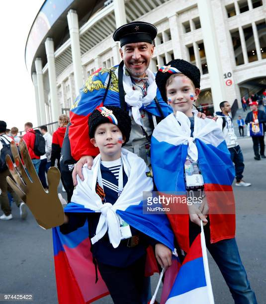 Group A Russia v Saudi Arabia FIFA World Cup Russia 2018 Russian fans celebrate after the match at Luzhniki Stadium in Moscow Russia on June 14 2018...