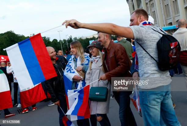 Group A Russia v Saudi Arabia FIFA World Cup Russia 2018 Russian fans celebrate after the match at Luzhniki Stadium in Moscow Russia on June 14 2018