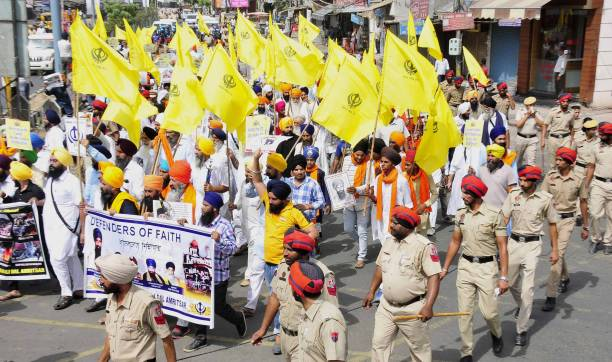 group activists take out protest march ahead of Operation Blue Star Anniversary on June 5 2017 in Amritsar India