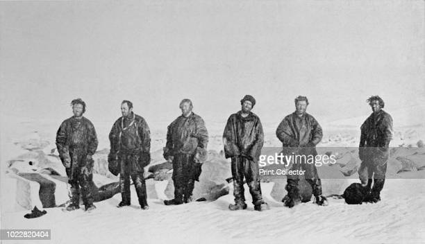 Group After Winter in Igloo' Northern Party after winter in snow cave Priestley Levick Dickason Browning and Abbott looking dirty and dishevelled...