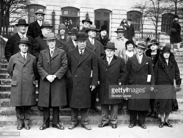 Group attending the Tercentenary Committee meeting at State House Jan 1930 Front row left to right WB Hofhenson [sp] AE Jewett RW Burnham Francis X...