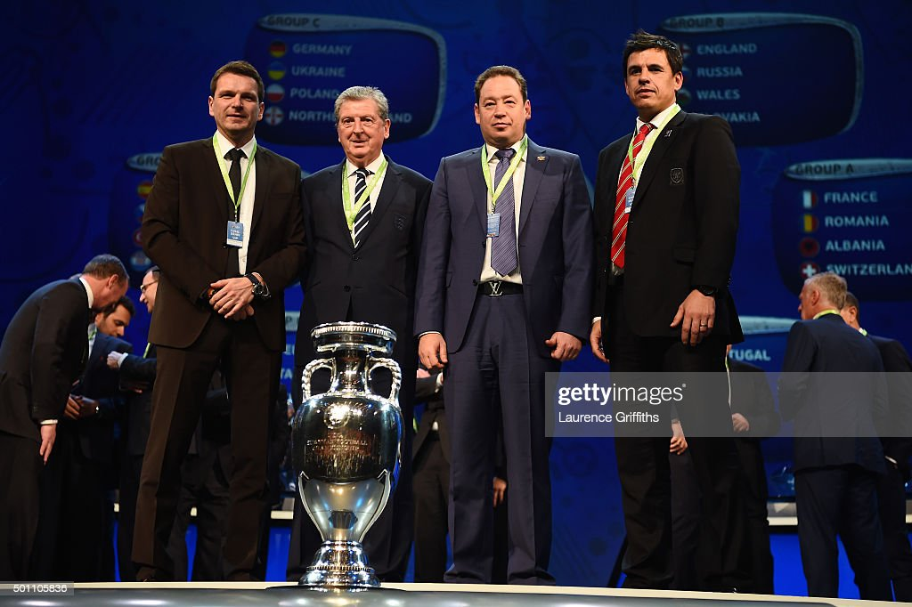 Group B managers, Stefan Tarkovic Assistant coach of Slovakia, Roy Hodgson Manager of England, Leonid Slutski Manager of Russia, Chris Coleman Manager of Wales during the UEFA Euro 2016 Final Draw Ceremony at Palais des Congres on December 12, 2015 in Paris, France.