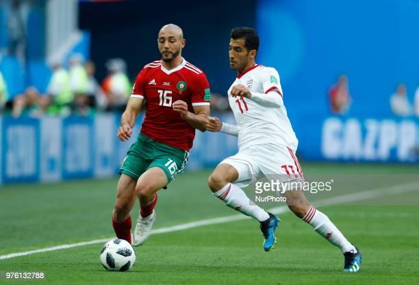 Group B Morocco v IR Iran FIFA World Cup Russia 2018 Noureddine Amrabat and Vahid Amiri during the 2018 FIFA World Cup Russia group B match between...